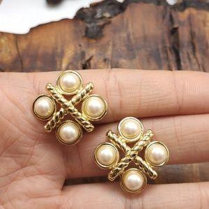 Vintage Monet pearl cross 90s gold mini dainty